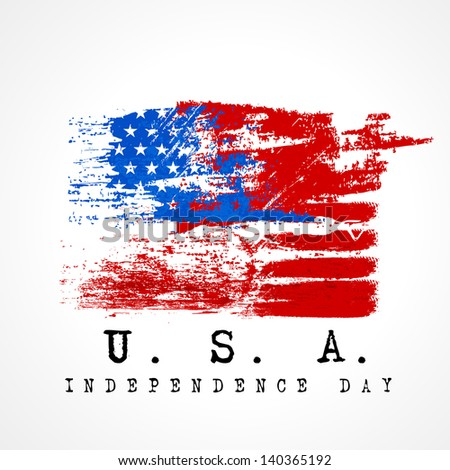 4th July, American Independence Day grungy background in national flag colors. - stock vector