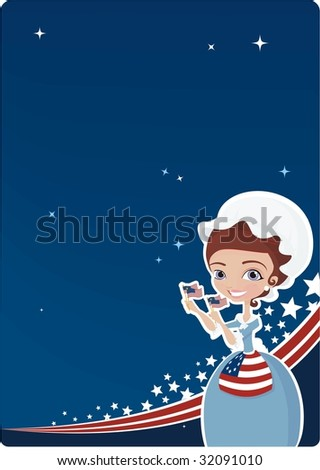 4Th july background with girl dressed in traditional costume - stock vector