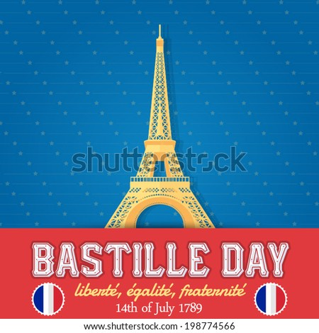 14th July Bastille Day of France Announcement Celebration Message Poster, Flyer, Card, Background Vector Design - stock vector
