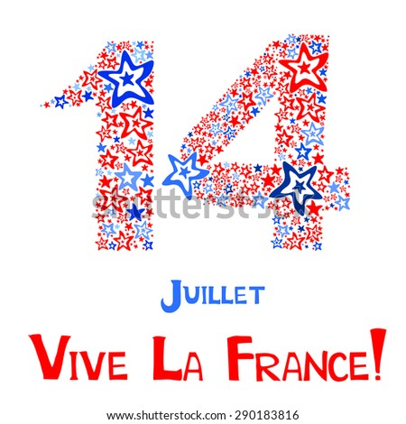 14th July Bastille Day of France. Happy independence day card. Celebration background with firework and place for your text. vector illustration  - stock vector