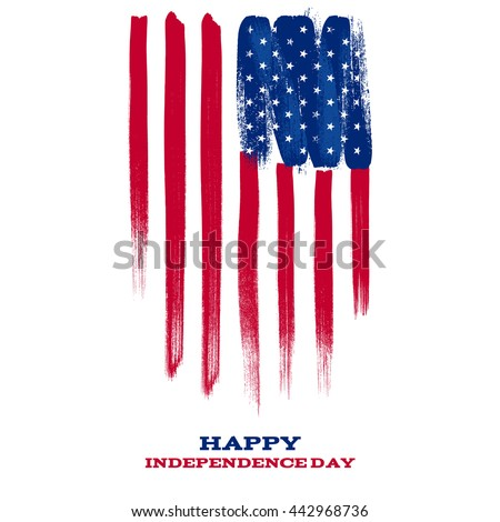 4th July Independence day background design. National day USA holiday banner poster greeting card. Stars and stripes american flag vector illustration. Paint hand drawn texture. - stock vector