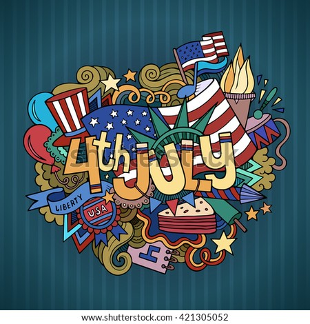4th July Independence Day hand lettering and doodles elements background. Vector illustration - stock vector