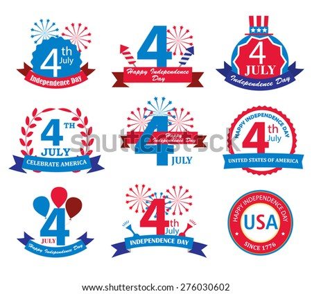 4 th July signs and symbols. Happy Independence Day United States of America design elements set, vector illustration, isolated on white background - stock vector