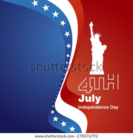 4th July white logo blue red greeting card background - stock vector