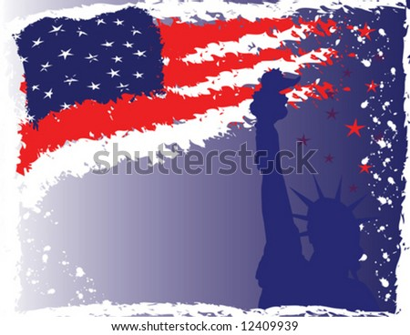 4th of July abstract background with the Statue of Liberty.  Vector format can be enlarged to any size. - stock vector