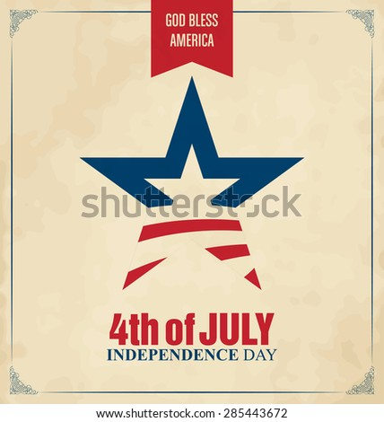 4th of July - Abstract Flag Design - Independence Day in the United States of America - stock vector