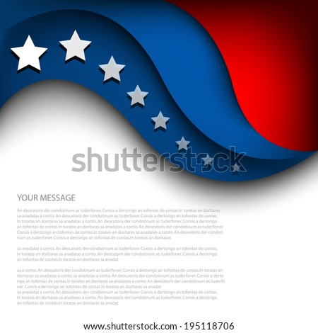 4th of July, American independence day background curve  - stock vector