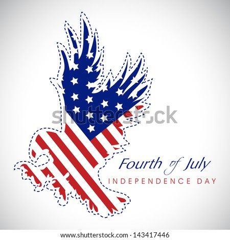 4th of July, American Independence Day background with national bird eagle in national flag colors. - stock vector