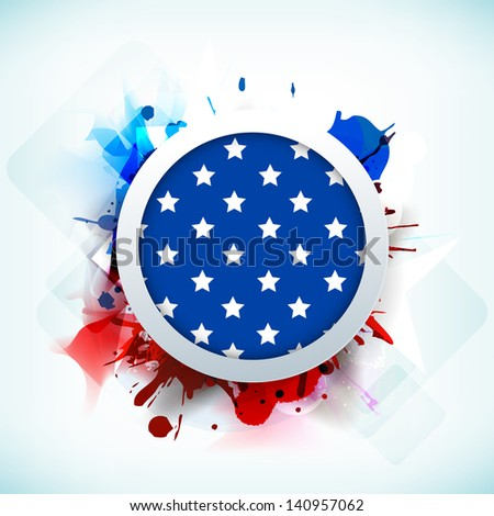 4th of July, American Independence Day background with national flag in a circle frame on grungy background. - stock vector