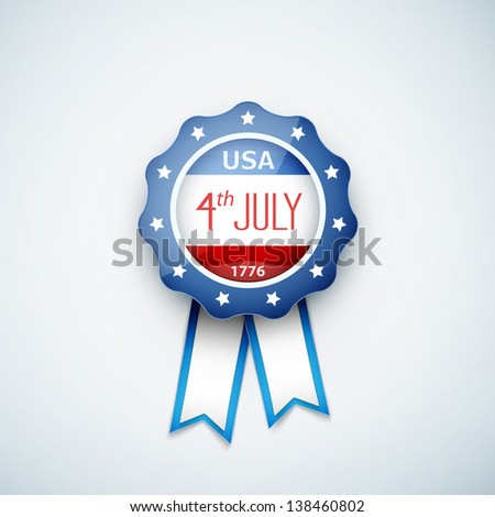 4th of july american independence day badge. eps10 vector illustration. - stock vector