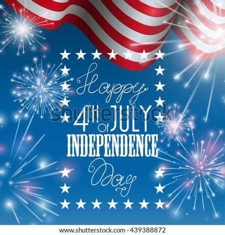 4th of July, American Independence Day celebration background with fire crackers. Congratulations on Fourth of July - stock vector