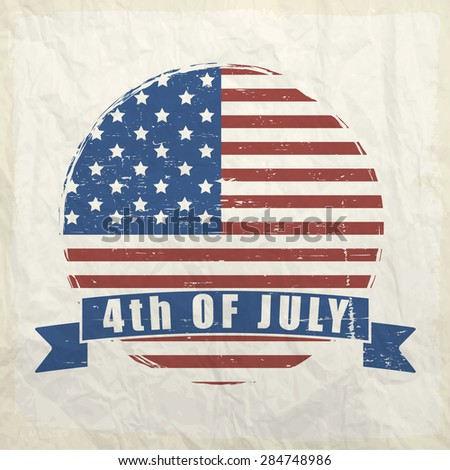 4th of July, American Independence Day celebration sticker, tag or label on vintage background. - stock vector
