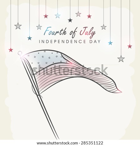 4th of July, American Independence Day celebration with national flag waving and colorful stars hanging on vintage background. - stock vector