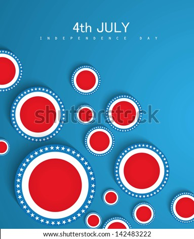 4th of July American Independence Day circle in American Flag blue background vector - stock vector