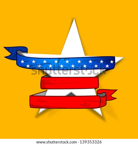 4th of July, American Independence Day concept .Star wrapped up with national flag colors ribbon on yellow background. - stock vector