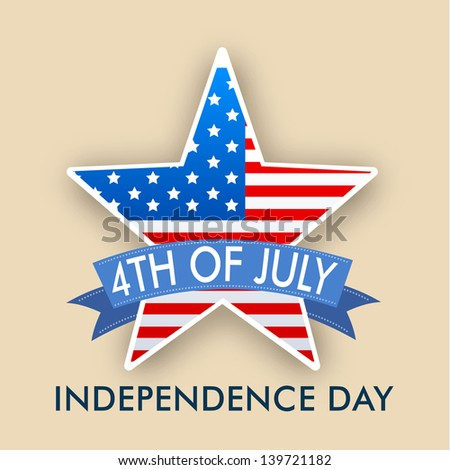 4th of July, American Independence Day concept with star in national flag colors on brown background. - stock vector