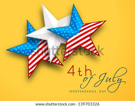 4th of July, American Independence Day concept with stars on yellow background. - stock vector