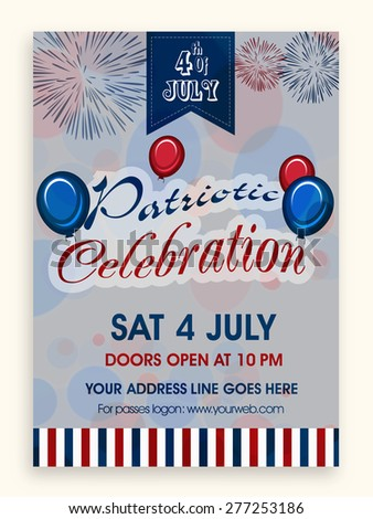 4th of July, American Independence Day flyer or banner design with venue details for party. - stock vector