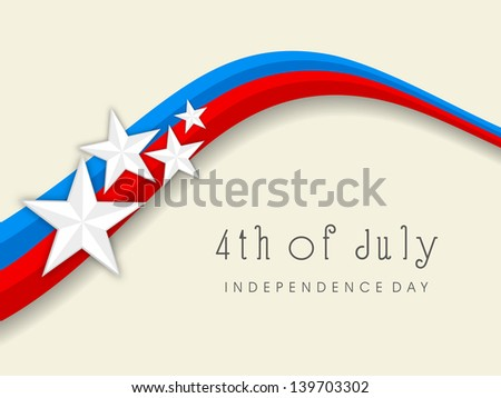 4th of July, American Independence Day national flag colors wave background with stars. - stock vector