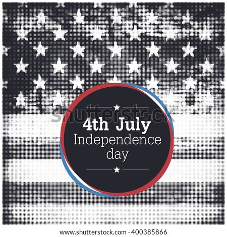 4th of july American independence day poster. Halftone american flag background - stock vector