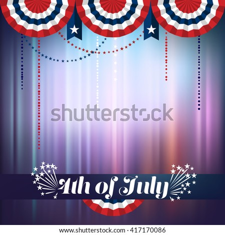 4th of July background, buntings in red and blue, eps10 vector - stock vector