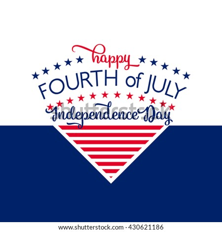4th of july background. Fourth of July felicitation triangle element postcard. USA Happy Independence day greeting card. Vector illustration with flag color, star, lettering for congratulation America - stock vector