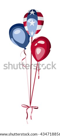 4th of July greeting card. USA Independence Day. Bunch of balloons with american flag elements. America national celebration vector design. - stock vector
