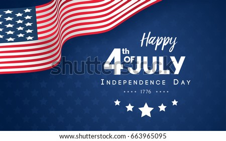 4th July Happy Independence Day Banner Stock Vector 663965095