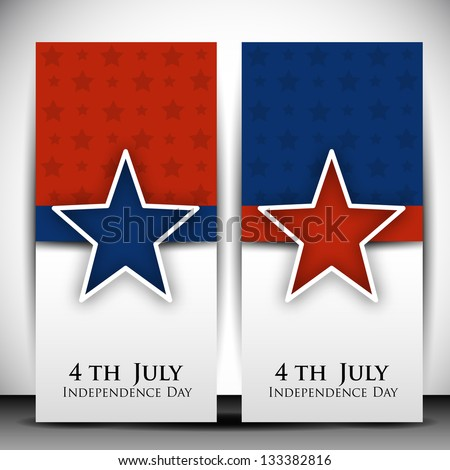 4th of July Happy Independence Day banners. - stock vector