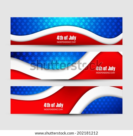 4th of July independence day background three header set Vector design