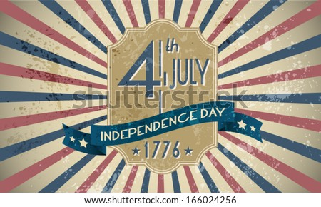 4th of July Independence Day Background. Vintage Badge Poster.