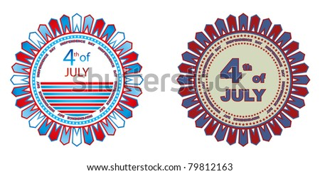 4th of July independence day badges isolated on a white background - stock vector