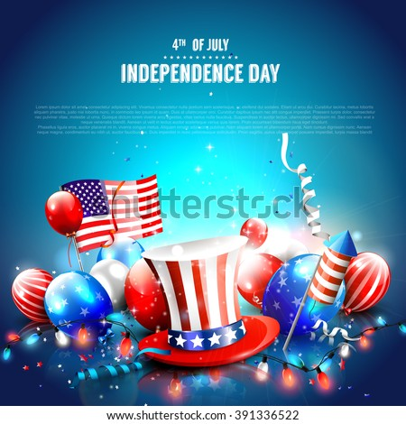 4th of July - Independence Day celebration background with hat, balloons, American flag and place for your text - stock vector