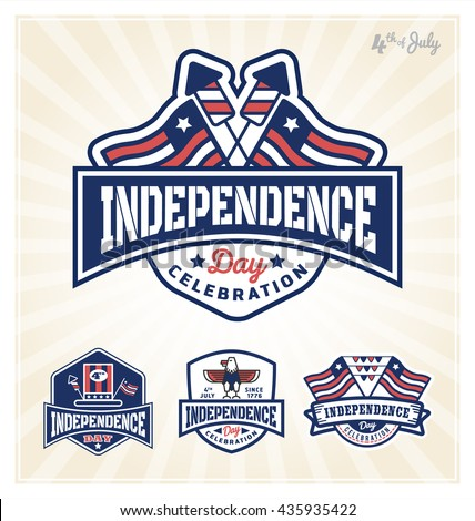 4th of July Independence day celebration badge design. Vector illustration - stock vector