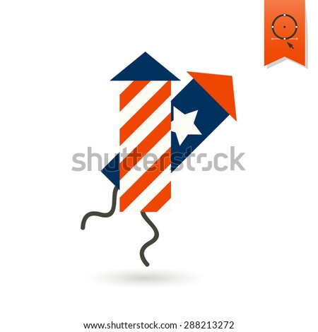 4th of July, Independence Day of the United States, Simple Flat Icon. Fireworks Vector - stock vector