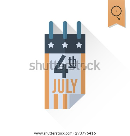 4th of July, Independence Day of the United States, Simple Flat Icon. Vector - stock vector