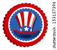 4th of july - uncle sam hat badge - stock vector