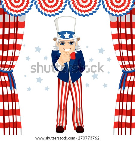 4th of July uncle Sam wants you concept pose pointing at you standing under flag decoration - stock vector