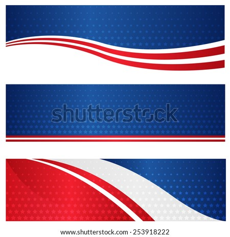 4th of July USA patriotic web header / banner collection on white background - stock vector