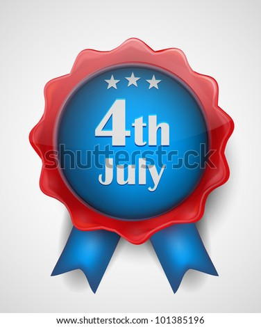 4th of July Wax Seal / Badge - stock vector