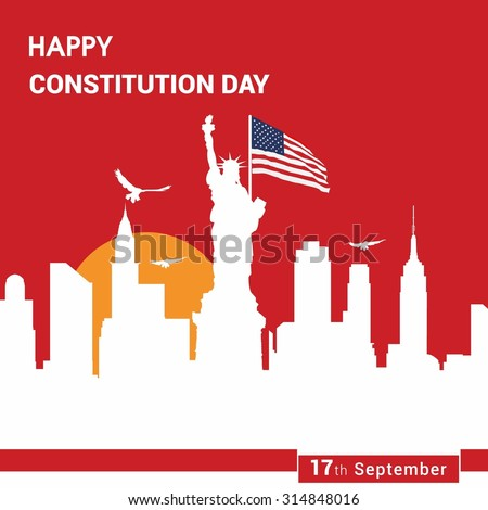 17th September America Constitution Day Poster Design template - stock vector