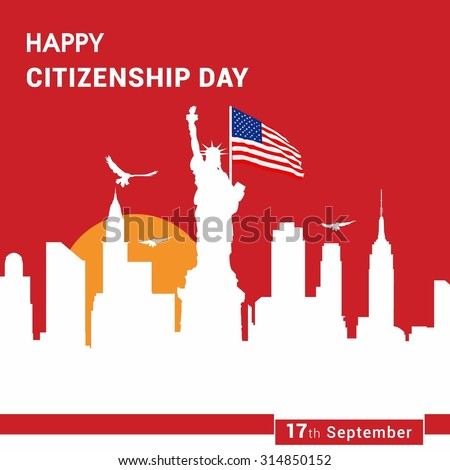 17th September American Citizenship Day Poster Design template - stock vector