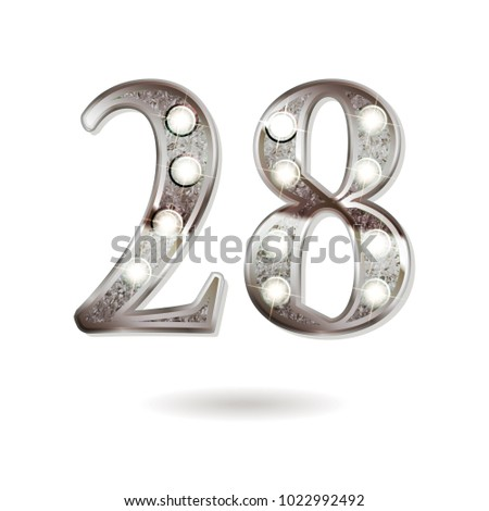 28th silver anniversary logo, ten years birthday celebration solated on white background