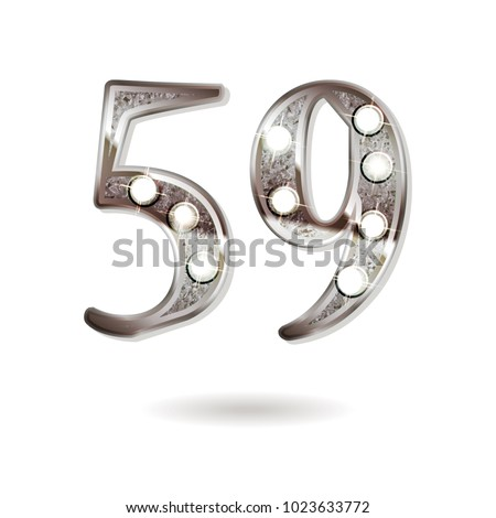 59th silver anniversary logo, ten years birthday celebration solated on white background