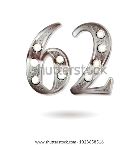 62th silver anniversary logo, ten years birthday celebration solated on white background