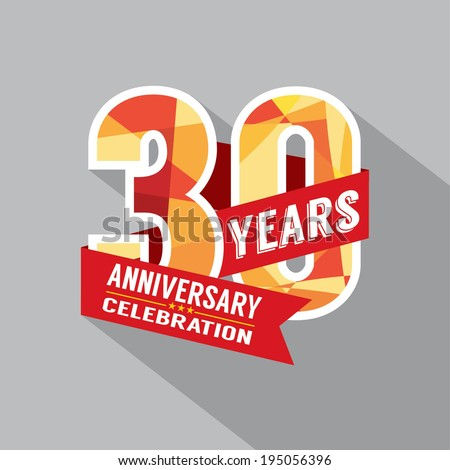 30th Year Anniversary Celebration Design - stock vector