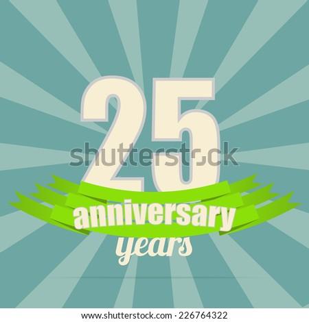 25th years anniversary - stock vector