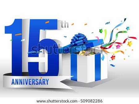 Celebrating 15 Years Anniversary Logo Silver Stock Vector