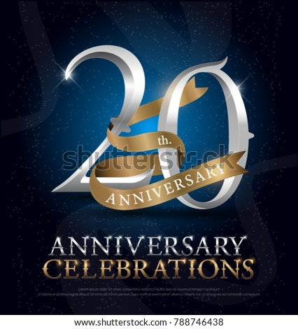 20th Years Anniversary Celebration Silver Gold Stock Vector
