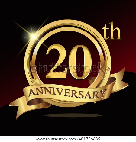20th Years Golden Anniversary Logo Celebration Stock Vector 2018